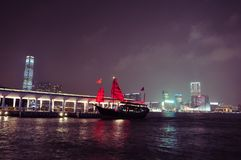 Hong Kong Harbour night. Harbour at night, IFC, in Central, Hong Kong Royalty Free Stock Photography