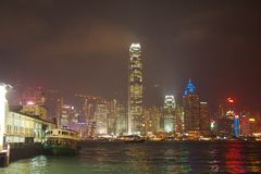 Hong Kong Harbour. By night Stock Photography