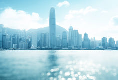 Hong Kong harbour at sunny day, tilt shift bokeh Royalty Free Stock Photos