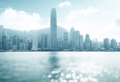 Hong Kong harbour at sunny day, tilt shift bokeh Royalty Free Stock Photography