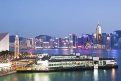 Hong Kong harbour at sunset Stock Image