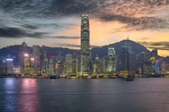 Hong Kong Harbour at sunset. Royalty Free Stock Photography