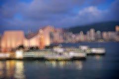 Hong Kong Harbour at sunset, blur bokeh light Stock Image