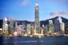 Hong Kong Harbour at sunset, blur bokeh light Stock Photography