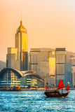 Hong Kong Harbour at sunset. royalty free stock photography