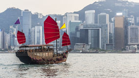 Hong Kong. Harbour with tourist junk Stock Photography