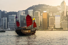 Hong Kong. Harbour with tourist junk stock photos