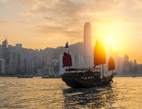 Hong Kong. Harbour with tourist junk in the morning Stock Photo