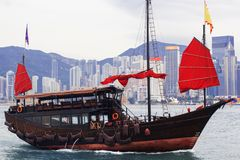 Hong Kong harbour with tourist junk, Scarlet Sails Royalty Free Stock Image