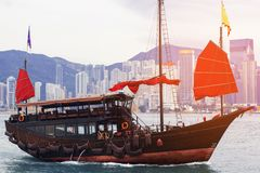 Hong Kong harbour with tourist junk, Scarlet Sails Stock Photos
