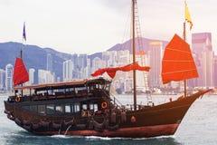 Hong Kong harbour with tourist junk, Scarlet Sails Stock Photos