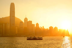 Hong Kong with heavy smog. And sunlight Royalty Free Stock Photography
