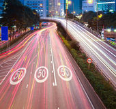 Hong Kong of highway with heavy traffic at night Royalty Free Stock Photos