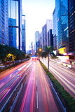 Hong Kong of highway with heavy traffic at night Royalty Free Stock Image