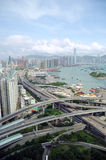 Hong Kong Highways. Highways across Kowloon and far view of Hong Kong Island Stock Images
