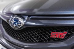 Hong Kong, Hong Kong - 25 April 2018: Close-up of Subaru Tecnica International STI badge on the car grill and Subaru Logo. Royalty Free Stock Photos