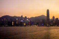 Hong Kong - 2015: Hong Kong linia horyzontu Obraz Stock