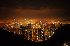 Hong Kong, Hong Kong-nacht Stock Afbeelding