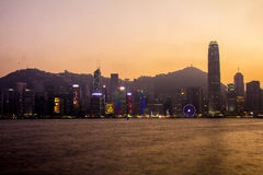 Hong Kong - 2015: Hong Kong skyline. Skyline of Hong Kong island. Photo taken from Kowloon side Stock Image
