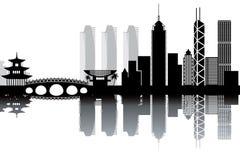 Hong Kong horisont vektor illustrationer