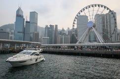 Hong Kong horisont från habouren arkivbilder