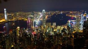 Hong Kong horisont från maximumet på natten Arkivfoto