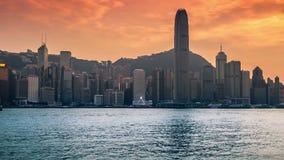 Hong Kong horisont i morgonen över den Victoria hamnen 4K TimeLapse - Augusti 2016, Hong Kong arkivfilmer