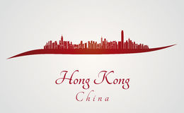 Hong Kong horisont i rött Royaltyfria Bilder