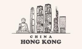 Hong Kong-horizon, de uitstekende vectorillustratie van China, hand getrokken gebouwen van Hong Kong-stad stock illustratie