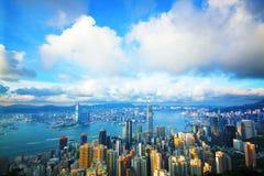 Hong Kong-horizon van Victoria Peak royalty-vrije stock afbeeldingen
