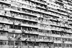 Hong Kong housing in black and white. Crowded housing condition in Hong Kong, China. Photo in black and white Royalty Free Stock Photography
