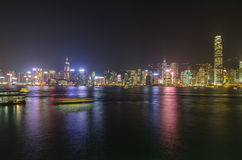 Hong Kong i nattsikt Royaltyfri Bild