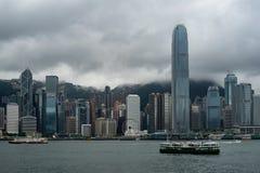 Hong Kong i stadens centrum skyskrapor arkivfoto