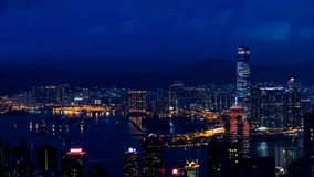 Hong Kong iconic night view from Victoria peak, Beautiful light Stock Photo