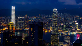Hong Kong iconic night view from Victoria peak, Beautiful light Stock Photography