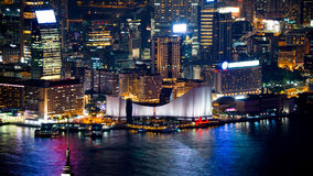 Hong Kong iconic night view from Victoria peak, Beautiful light Royalty Free Stock Photo