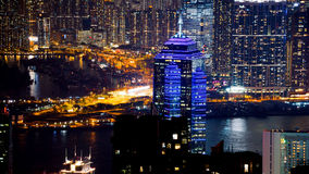 Hong Kong iconic night view from Victoria peak, Beautiful light Stock Images
