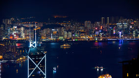 Hong Kong iconic night view from Victoria peak, Beautiful light Stock Photos