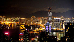 Hong Kong iconic night view from Victoria peak, Beautiful light Royalty Free Stock Photos