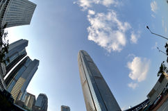 Hong Kong, IFC and Exchange Square. In blue sky Stock Images