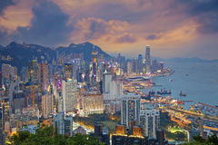Hong Kong. Image of Hong Kong skyline during dramatic sunset stock photography