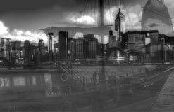 Hong Kong-Insel gesehen von Kowloon bei Victoria Bay lizenzfreies stockbild