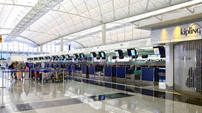 Hong kong international airport check in counters Royalty Free Stock Images