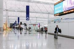 Hong Kong International Airport Chek Lap Kok Airport bij nacht Stock Fotografie