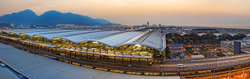Hong kong international airport sunset Stock Images