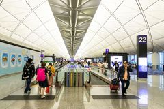 HONG KONG, February 9, 2019: The Hong Kong International Airport terminals are connected with walkalators to ease passengers. The Hong Kong International Airport royalty free stock photos