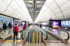 HONG KONG, February 9, 2019: The Hong Kong International Airport terminals are connected with walkalators to ease passengers. The Hong Kong International Airport royalty free stock images