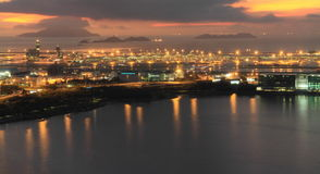 Hong Kong International Airport at twilight Stock Photos