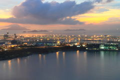 Hong Kong International Airport at twilight Royalty Free Stock Photos