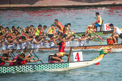 Hong Kong International Dragon Boat Races. Dragon Boat Racing in Victoria Harbour, Hong Kong stock photo